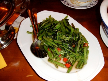 water spinach with fresh chili peppers